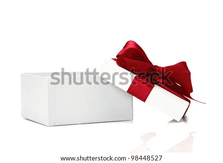 Little red gift on white  background - stock photo