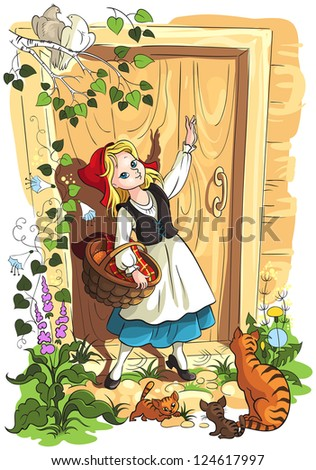 Little Red Riding Hood. Illustration for the Brothers Grimm fairy tale. Raster version - stock photo