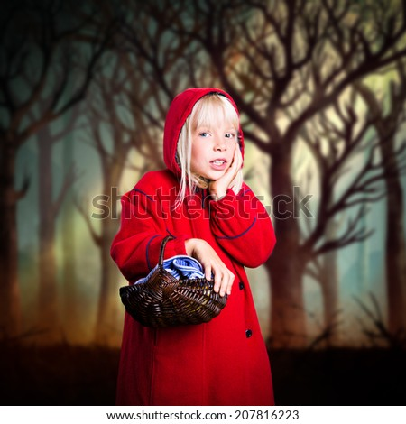 little red riding hood in modern clothes - stock photo