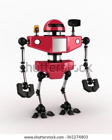 Little Red Robot, 3d - stock photo