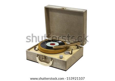 Little retro record player isolated with clipping path. - stock photo