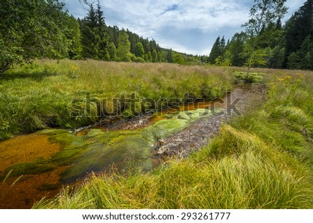 little river, national park Sumava, Czech republic, Europe - stock photo