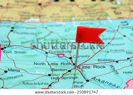 Little Rock pinned on a map of USA  - stock photo