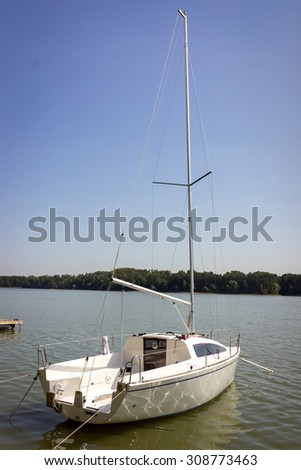 Little sailing boat or yacht - stock photo
