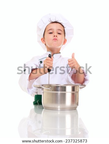 Little satisfied boy chef with ladle stirring in the pot shows ok gesture isolated on white - stock photo