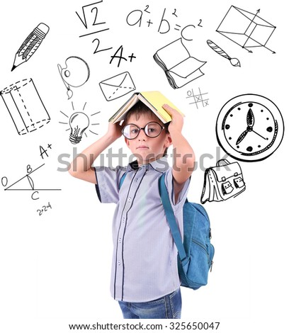Little schoolboy  with school  icons, isolated on white - stock photo
