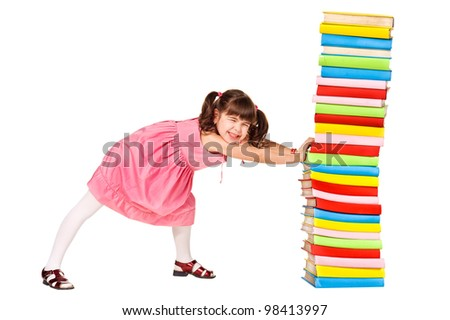 little schoolgirl push a stack of heavy books. Isolated over white - stock photo
