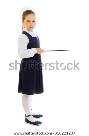 Little schoolgirl with pointing stick isolated - stock photo