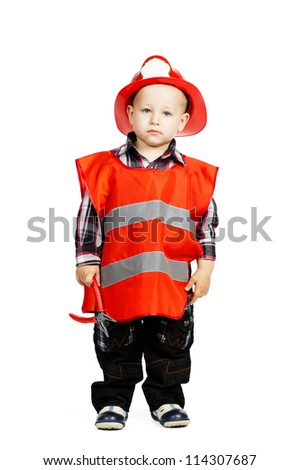 little serious firefighter - stock photo