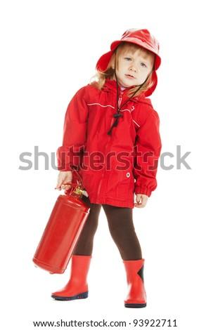 little serious firefighter - stock photo