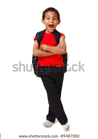 Little shouting boy with his arms crossed - stock photo
