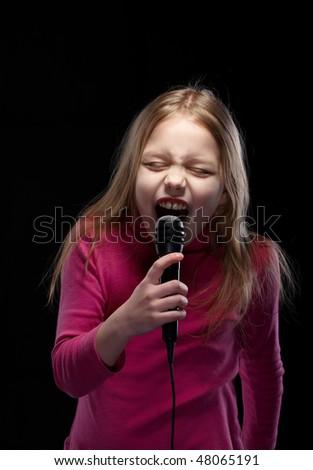 Little singer - stock photo