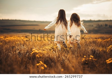 little sisters are twins to meet sunset - stock photo