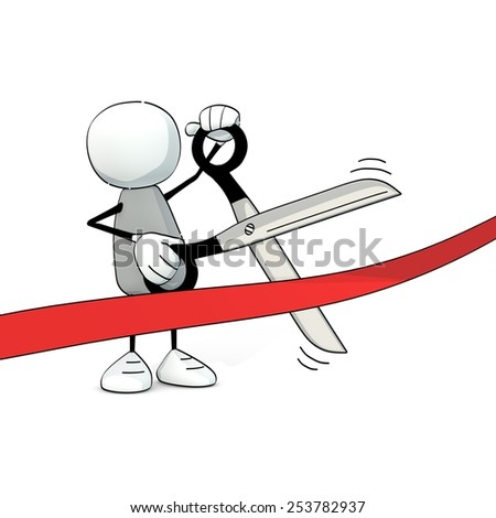little sketchy man cutting a red ribbon with scissors - stock photo