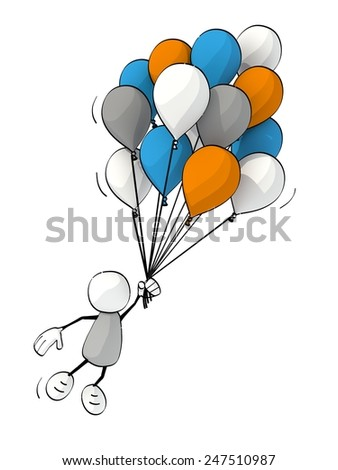 little sketchy man flying with a bunch of balloons - stock photo