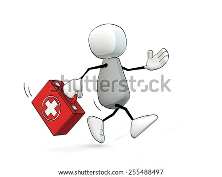 little sketchy man hurrying with first aid box - stock photo