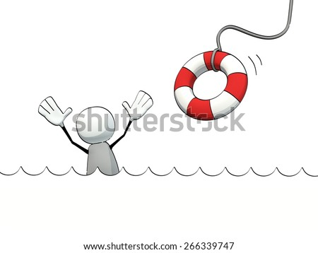 little sketchy man in the water and life belt - stock photo