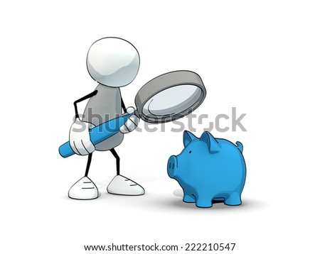 little sketchy man looking at a blue piggy bank with magnifier - stock photo