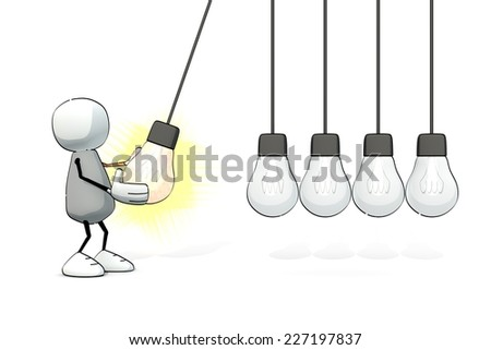 little sketchy man starting a Newton cradle with a glowing light bulb - stock photo