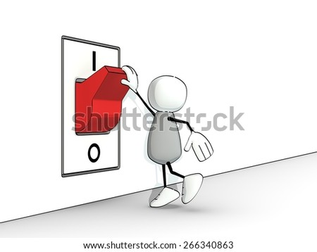 little sketchy man toggling a red switch - stock photo