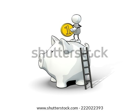 little sketchy man with coin on a big piggy bank - stock photo