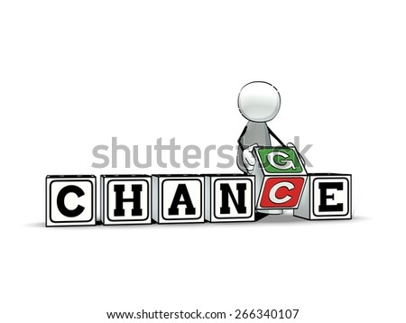 little sketchy man with toy blocks: chance - change  - stock photo