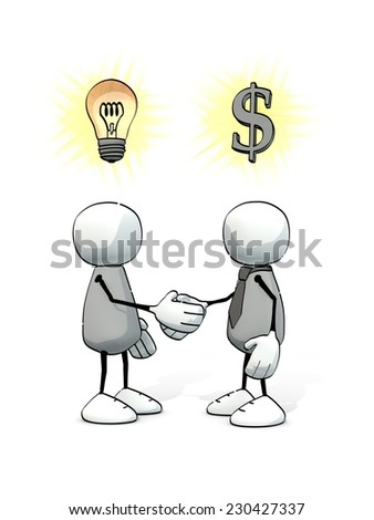 little sketchy men - inventor and investor shaking hands (1) - stock photo