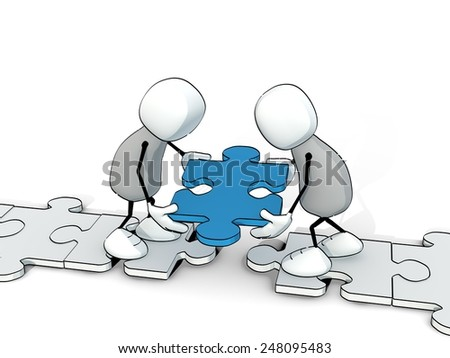 little sketchy men putting a blue piece of a puzzle at the right place - stock photo
