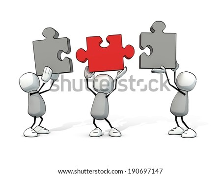 little sketchy men with grey and red  pieces of puzzle - stock photo
