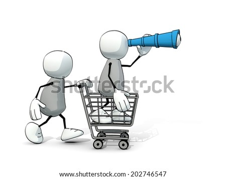 little sketchy men with shopping cart and telescope - stock photo