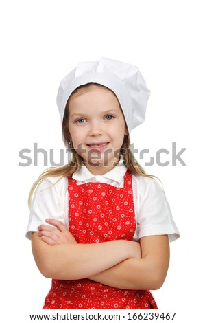 Little smiling chief-cooker. - stock photo