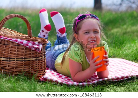 Little smiling girl at picnic - stock photo