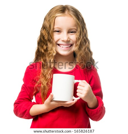 little smiling girl in a white chef hat cup, isolated - stock photo