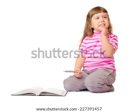 Little smiling girl with book isolated - stock photo