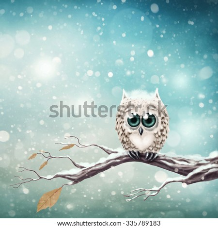 Little snow owl sitting on the branch - stock photo