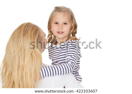 Little star. Shot of a little girl hugging her mother looking to the camera at the studio isolated on white. - stock photo