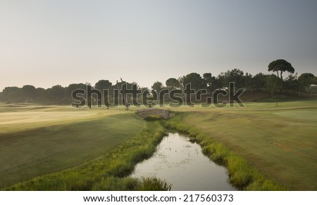 Little stone bridge over river in a golf course - stock photo