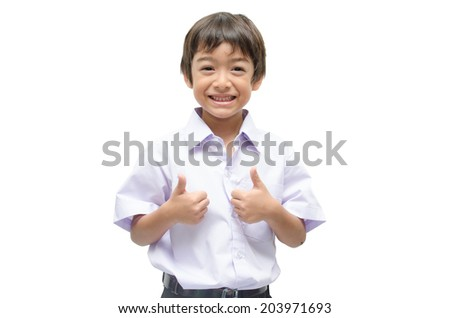 Little student boy in uniform - stock photo