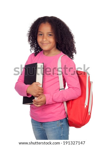 Little student girl isolated on a white background - stock photo