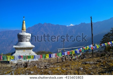Little temple with prayer flags, Himalayas, Nepal - stock photo