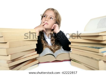 little thinking student blond braided girl with glasses smiling stacked books on white background - stock photo