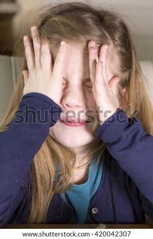 little tired sad emotional girl - stock photo
