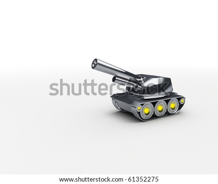 little toy tank made of silver with room for text - stock photo