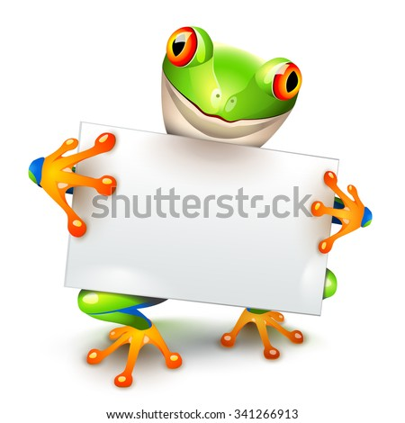 Little tree frog holding a white card for a message - stock photo