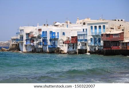 Little Venice in Mykonos Island, Greece - stock photo