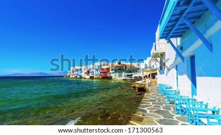 Little Venice in Mykonos island,Greece - stock photo
