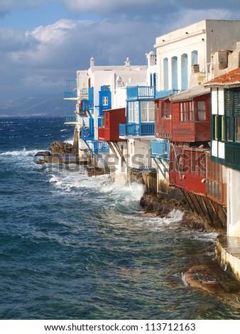 Little Venice of Mykonos in Winter. - stock photo