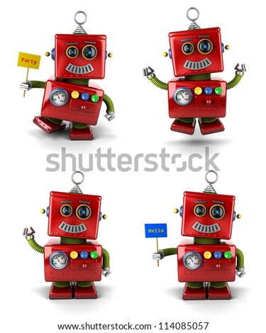 Little vintage toy robot set jumping and waving over white background - stock photo