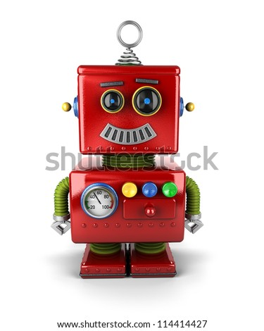 Little vintage toy robot with a smile over white background - stock photo