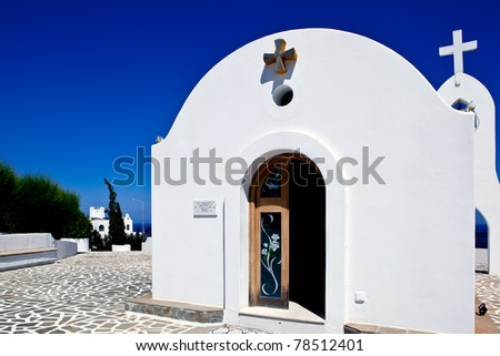 little white church in Rhodes ,Greece - stock photo